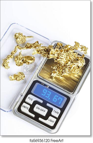 Free art print of Beautiful pieces of raw gold ore weighted on digital  scale on white background