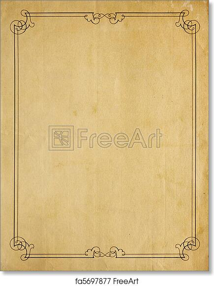 free art print of very old blank paper background with scroll border