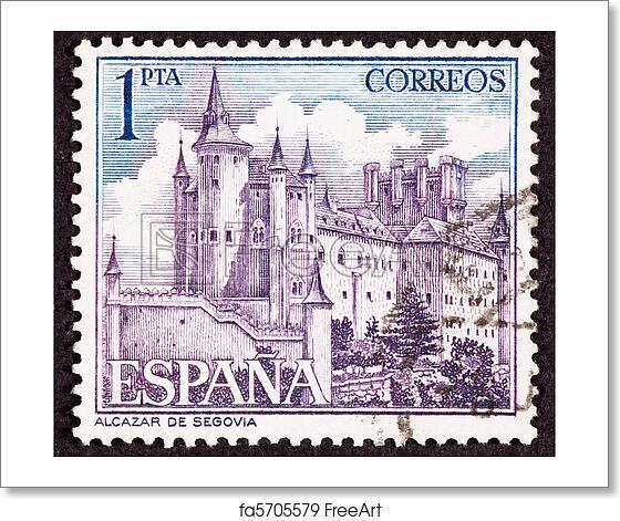 Free Art Print Of Cancelled Spanish Postage Stamp Segovia Castle Spain Ornate Fo