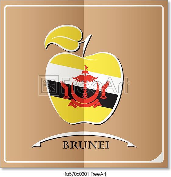 Free Art Print Of Apple Logo Made From The Flag Of Brunei Freeart