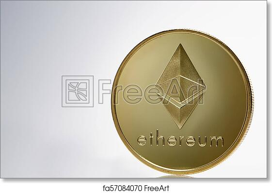 Free art print of Golden ethereum coin  Crypto currency blockchain coin  ethereum symbol on light background