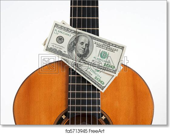 Free art print of Classical guitar and money. Money put between the ...