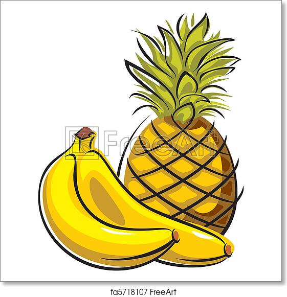 photo about Free Printable Pineapple known as Absolutely free artwork print of Pineapple and bananas