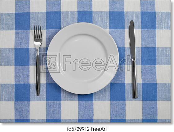 Free Art Print Of Knife, White Plate And Fork On Blue Checked Tablecloth