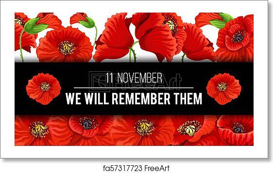 Free Art Print Of Remembrance Day 11 November Vector Poppy Banner