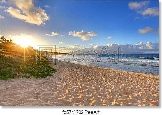 Free Art Print Of Tropical Beach Sunset At Oneloa Maui Hawaii