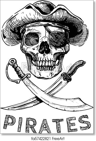 graphic regarding Pirate Flag Printable known as Cost-free artwork print of Pirate skull with cross swords