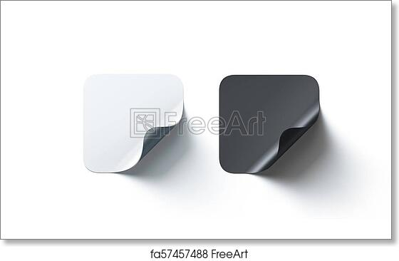 Free Art Print Of Blank Black And White Square Adhesive Stickers Mockup Curved Corner
