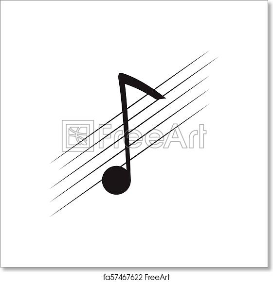 Free art print of Isolated eighth note on a pentagram