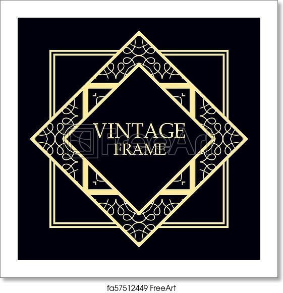 free art print of art deco frame art deco border template vector