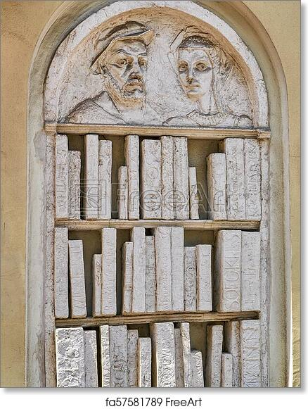Free Art Print Of Sculpture In Relief A Bookshelf With Books Made Out Stone Or Plaster