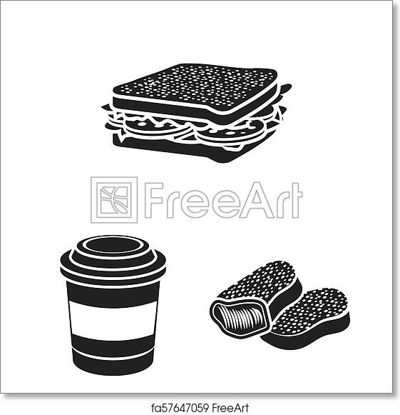 Free Art Print Of Fast Food Black Icons In Set Collection For Design