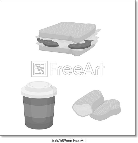 Free Art Print Of Fast Food Monochrome Icons In Set Collection For