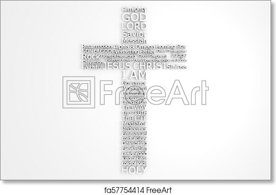picture about Free Printable Names of God named Totally free artwork print of Cross With Biblical Names of JESUS CHRIST