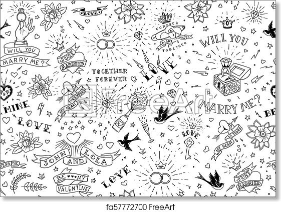 Free Art Print Of Old School Tattoos Seamles Pattern With Birds Flowers Roses And Hearts Love And Wedding Theme Black And White Traditional Tattoo