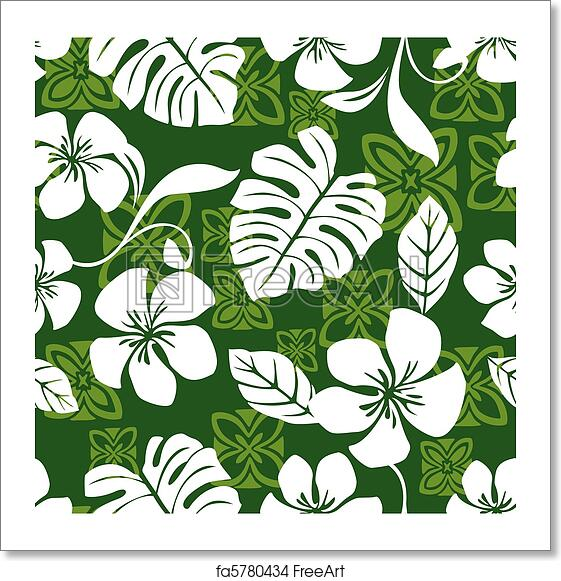 3e3532396b12 Illustration of a seamless Hawaiian print pattern tile. Tile can be dragged  and dropped into Illustrator's swatches palette.
