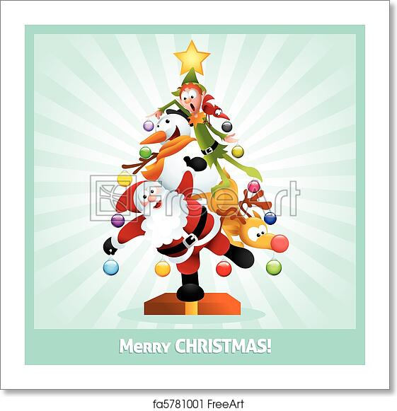 Funny Christmas Images.Free Art Print Of Funny Christmas Card Cartoon Collage