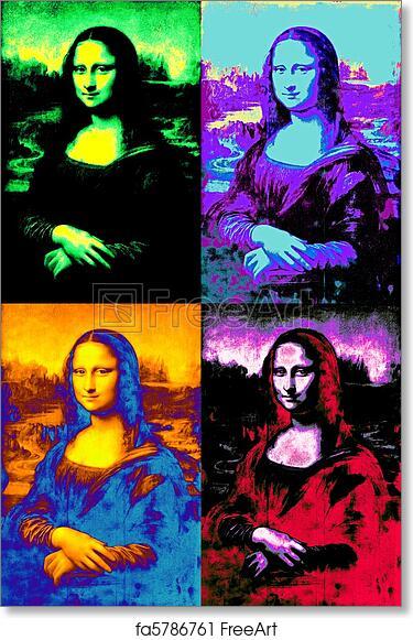 Complètement et à l'extrême Free art print of Pop mona lisa. Free interpretation of leonardo's #NO_88