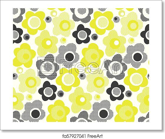 Free art print of Lime color simple floral seamless pattern