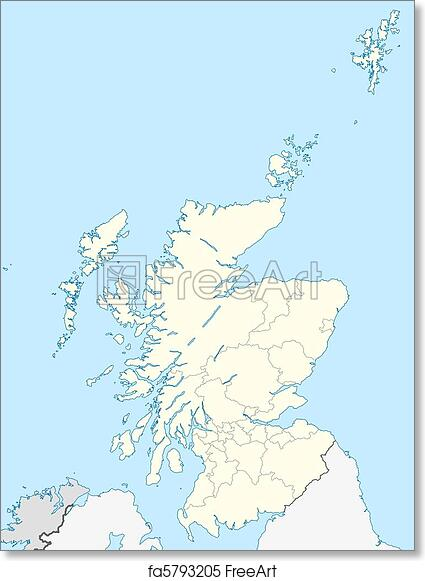 picture about Printable Map of Scotland identified as Absolutely free artwork print of Scotland map