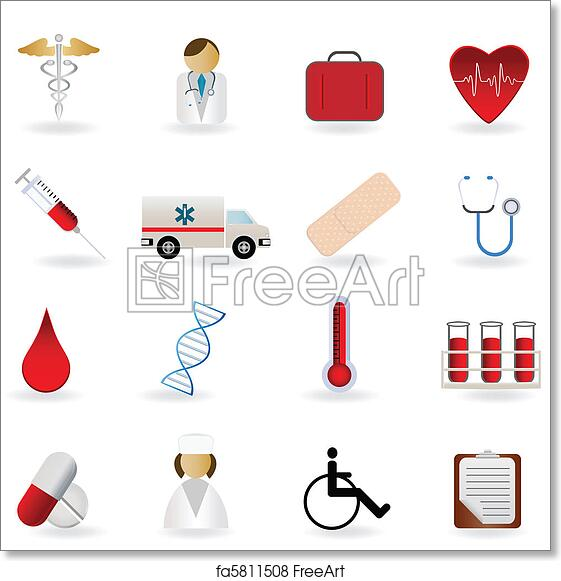 Free Art Print Of Medical And Healthcare Symbols Medical And Health