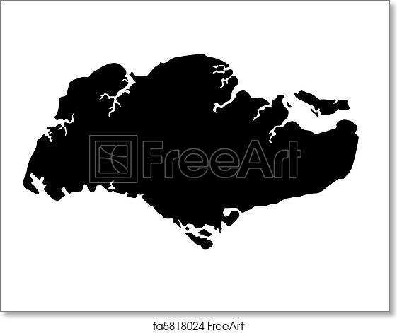 Free Art Print Of Republic Of Singapore Map Silhouette Republic - Map silhouette