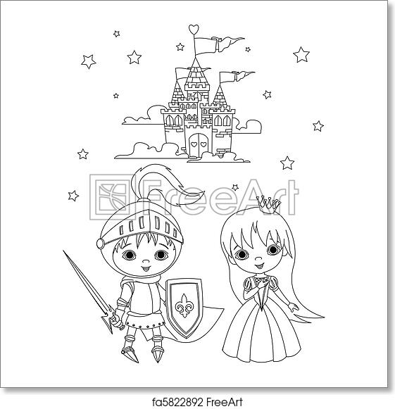 Free art print of Medieval knight and princess color