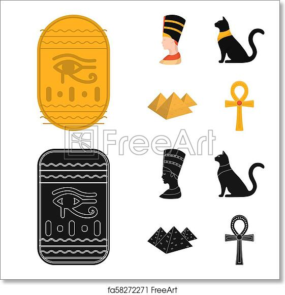 Free Art Print Of Eye Of Horus Black Egyptian Cat Pyramids Head