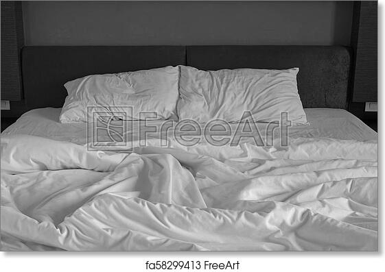 Free Art Print Of Messy Bed Sheets And Pillow