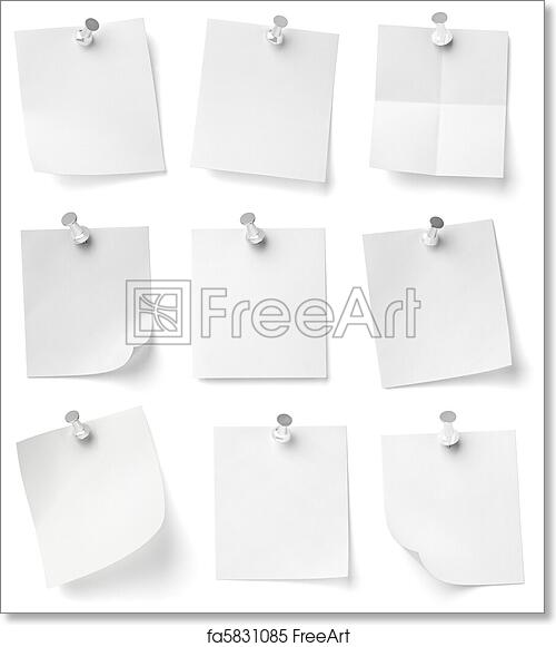 free art print of push pin and note paper office business