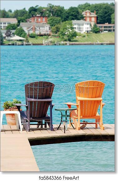 Free Art Print Of Brown And Orange Adirondack Chairs