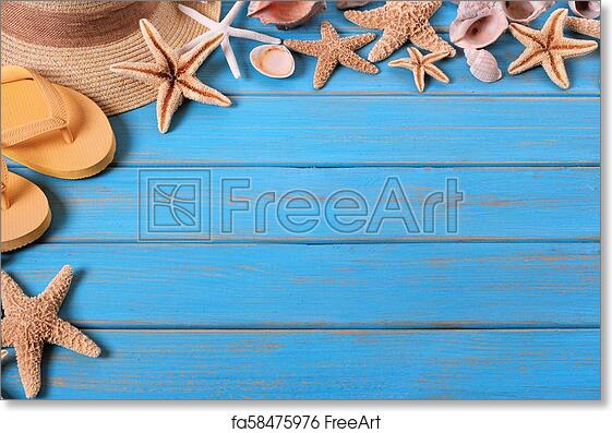 6adf22e84d13 Free art print of Tropical beach summer starfish flip flops background  border