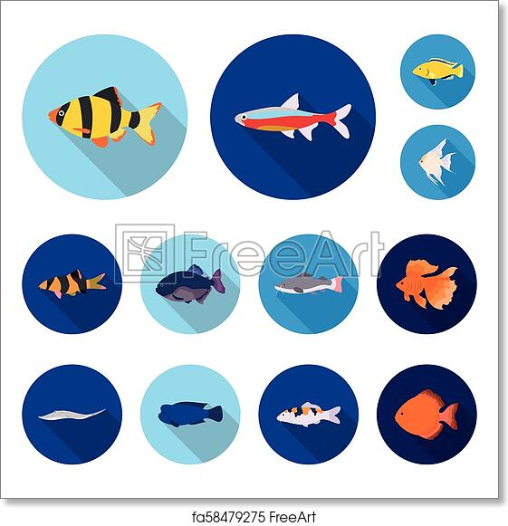 Free Art Print Of Different Types Of Fish Flat Icons In Set