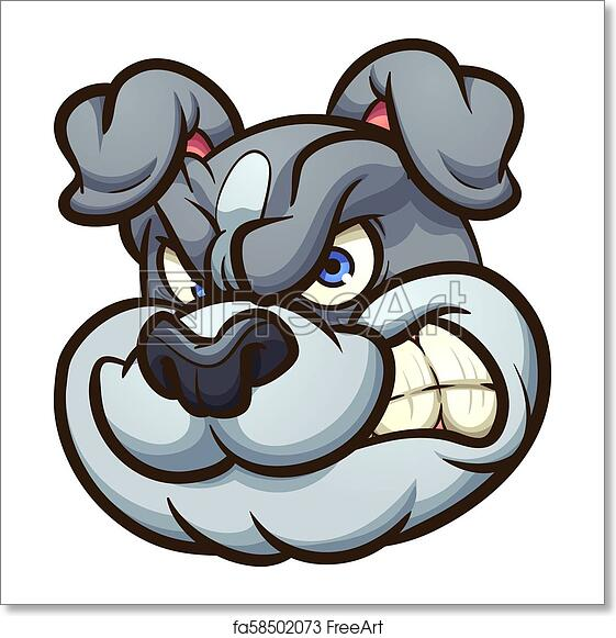 Angry cartoon bulldog head. Vector clip art illustration with simple  gradients. All in a single layer. e61129570