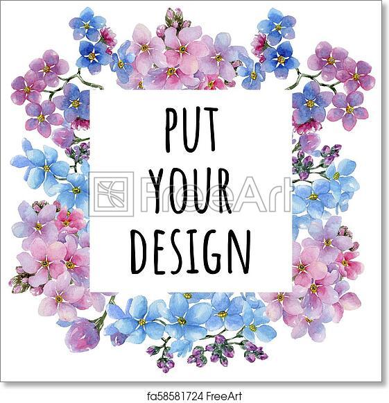 Free art print of Colorful myosotis. Floral botanical flower. Frame ...