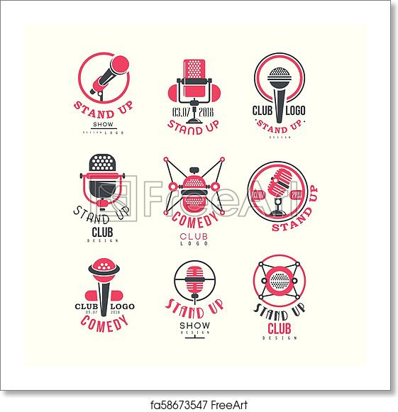 Free Art Print Of Comedy Club Stand Up Show Logo Design Set Vector Illustrations On A White Background Freeart Fa58673547