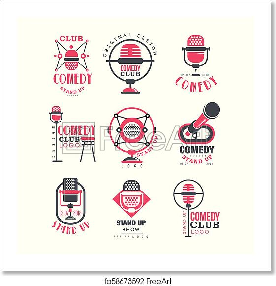 Free Art Print Of Comedy Club Logo Design Set Stand Up Show Signs With Retro Microphone Vector Illustrations On A White Background Freeart Fa58673592