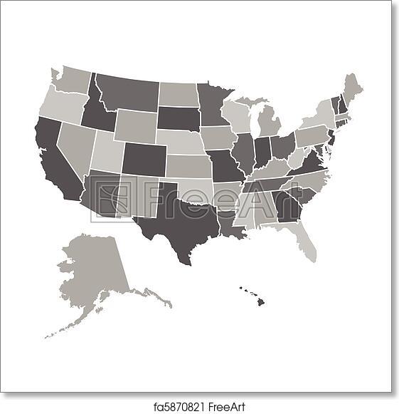 Free art print of United States Map