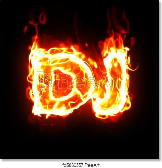 Free art print of Burning dj word