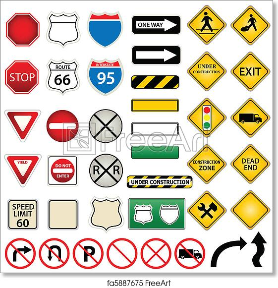 photo relating to Free Printable Road Signs named No cost artwork print of Street and targeted visitors signs or symptoms