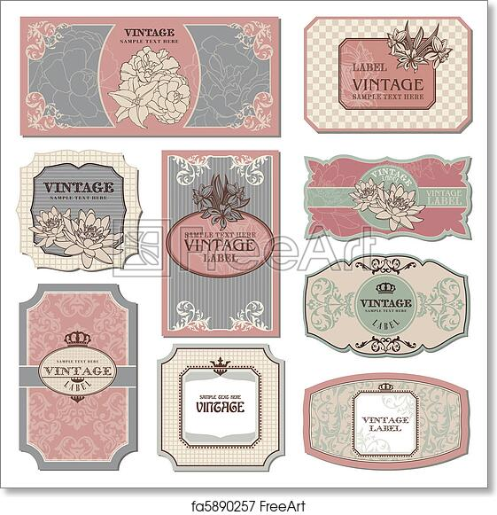 photograph about Printable Vintage Labels identified as Cost-free artwork print of Retro traditional labels