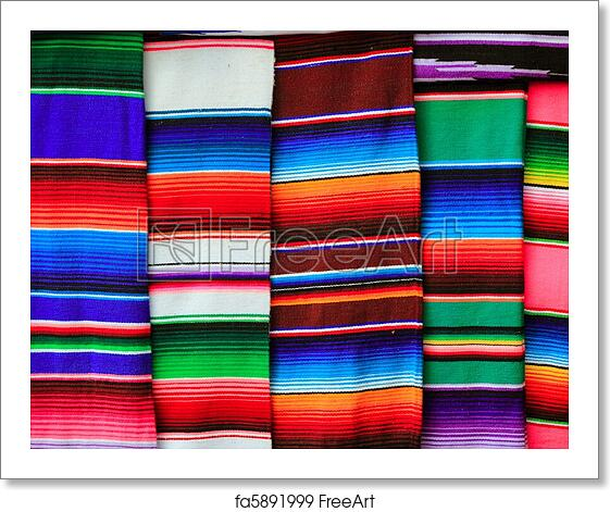 Free Art Print Of Mexican Serape Fabric Colorful Pattern