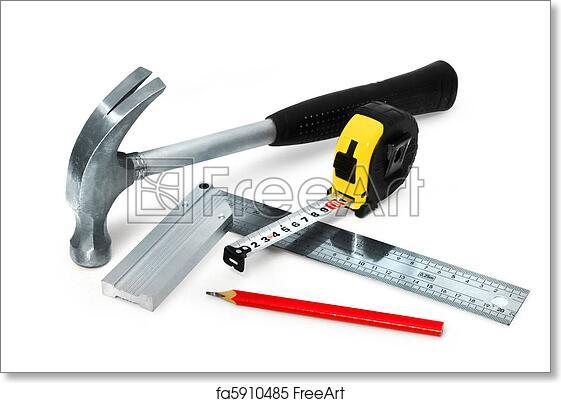 Free art print of Basic construction tools set on white background ...