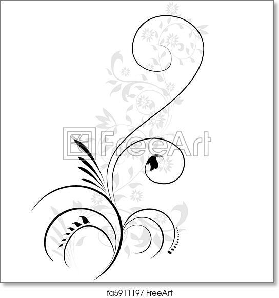 Free Art Print Of Vector Illustration Of Swirling Flourishes