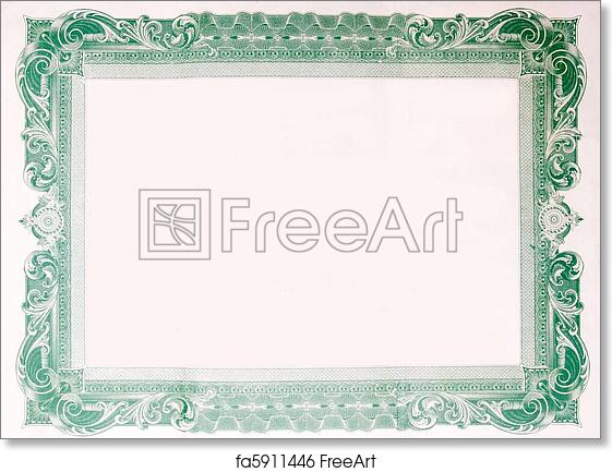 83dc047f6dfca Free art print of Old Vintage Stock Certificate Empty Border Frame ...