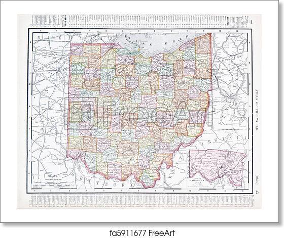 Antique Ohio Map.Free Art Print Of Antique Color Map Of Ohio Oh United States Usa