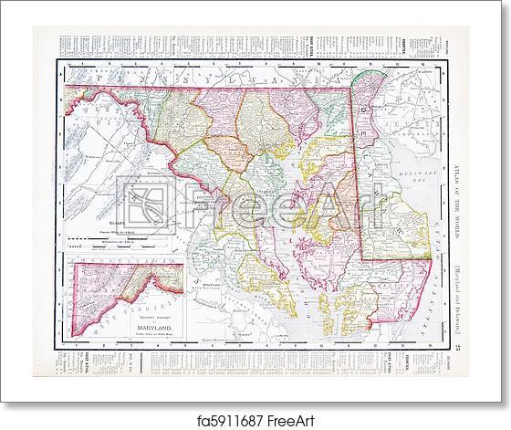 Free art print of Antique Vintage Color Map Maryland Delaware, USA ...