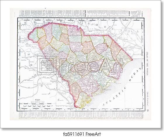 Free Art Print Of Antique Map Of South Carolina SC United States - South carolina in usa map
