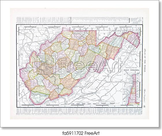 Free art print of Antique Map of West Virginia, WV United Sates, USA