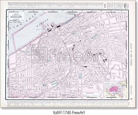 Free art print of Color Street City Map of Cleveland, Ohio, OH, USA Cleveland Map Usa on